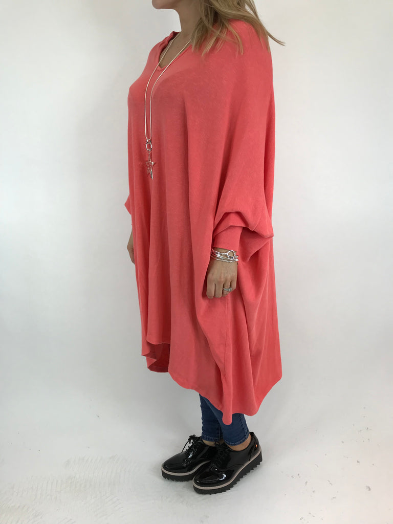 Lagenlook Paula Oversized Tunic in Coral. code 5597