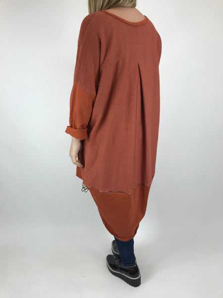 Lagenlook Zip Back Ribbed Top in Rust. code 6028