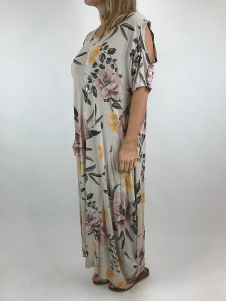 Lagenlook Flower Cold shoulder Tunic in Cream.code 41026