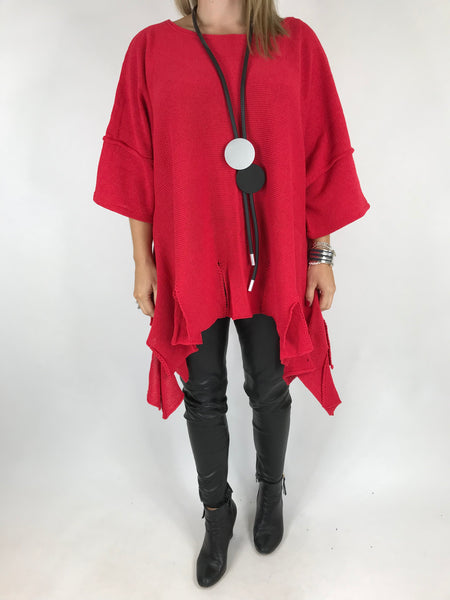 Lagenlook Jagged Hem Cotton Knit in Red. code 002