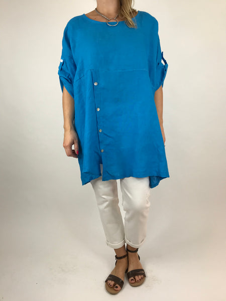 Lagenlook Lydia button Top in Turquoise .code 5711