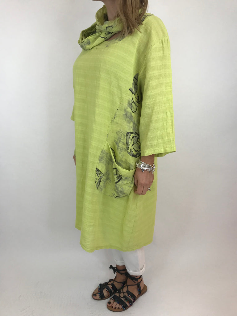 Lagenlook Julia Cotton Scarf Top in Lime. code 90850