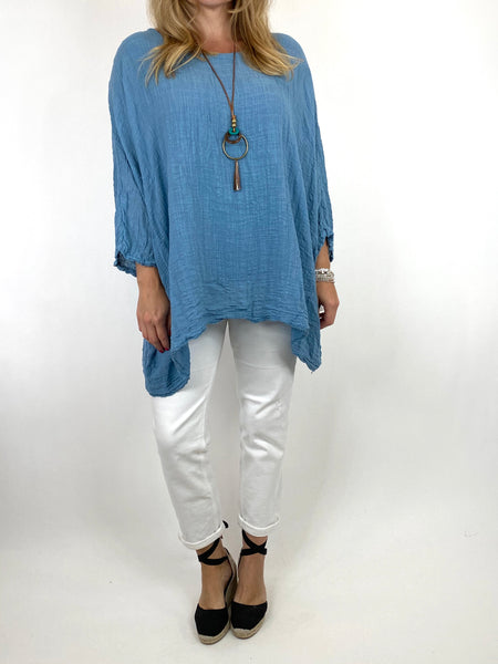 Lagenlook Nina necklace top Regular size in Denim. code 9066
