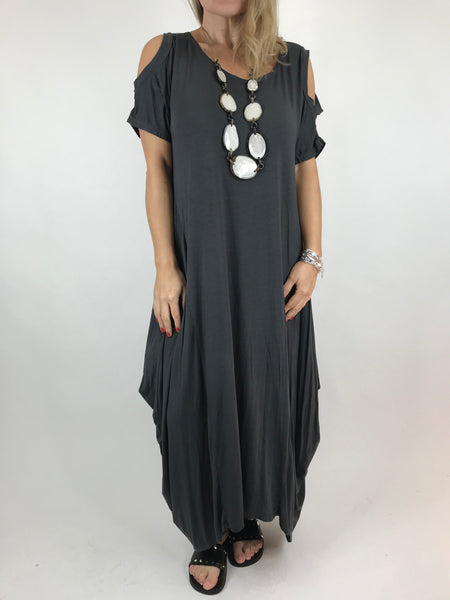 Lagenlook Long Plain Cold shoulder Tunic in Charcoal. code 1026