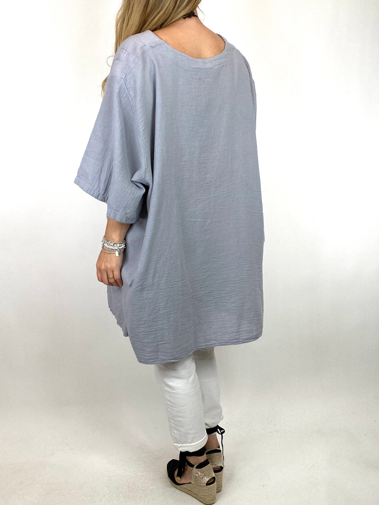 Lagenlook Rosa Flower Top In Pale Grey. code 4973