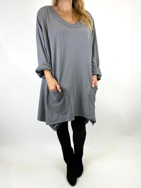Lagenlook Holly Point Hem Cotton Sweatshirt in Grey. code 91012 - Lagenlook Clothing UK