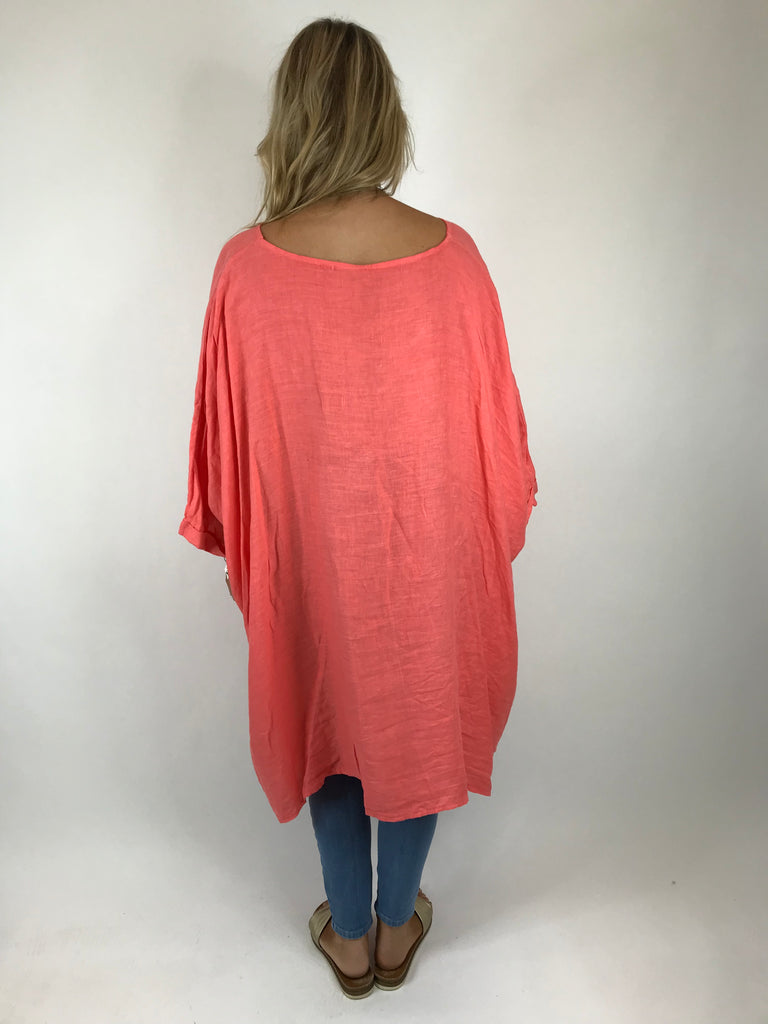 Lagenlook Linen Plain Poncho Top in Coral Peach. code 5024
