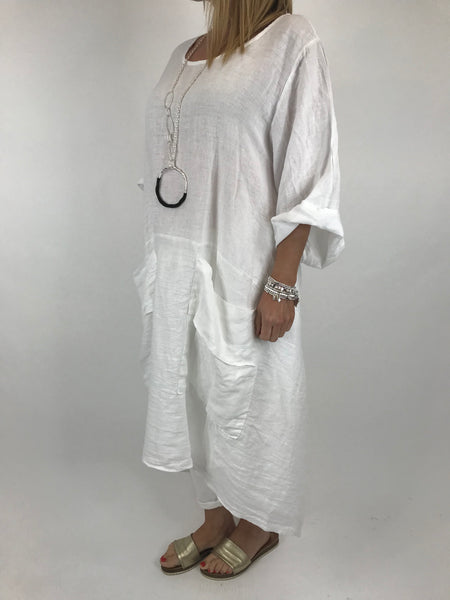Lagenlook Misha Linen Tie back Tunic in White. code 20511