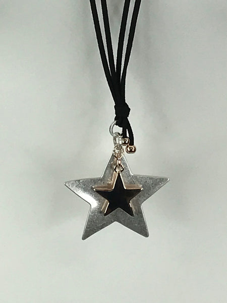 Lagenlook 2 Star Black Necklace .Code N790