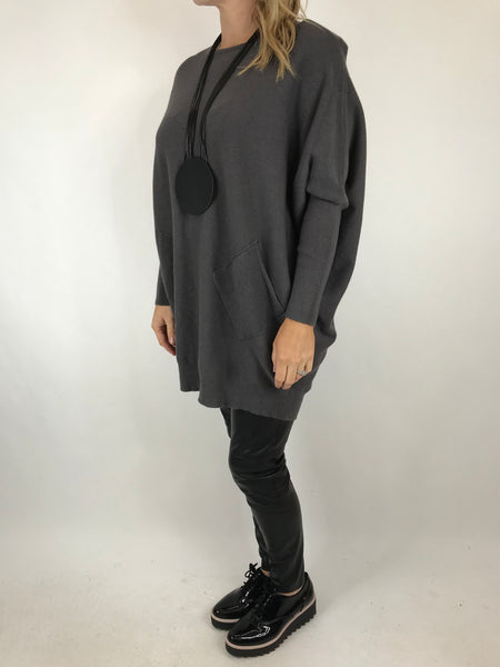 Lagenlook Piper Ribbed Plait Back Jumper in charcoal. code 5383