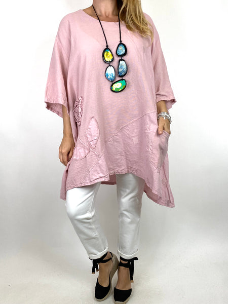 Lagenlook Rosa Flower Top In Pale Pink. code 4973