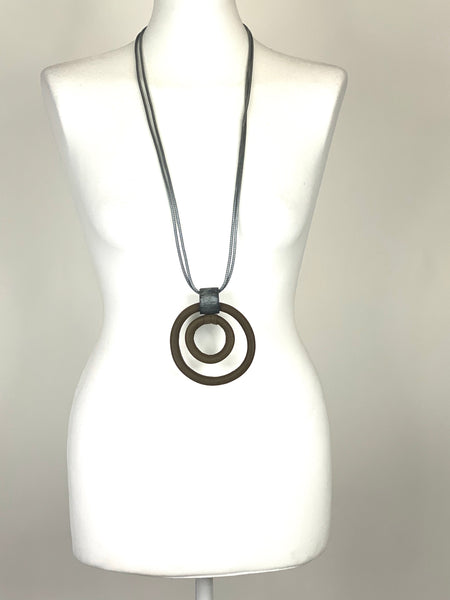 Lagenlook Tribal Grey Circle Hoop Necklace .Code F60 - Lagenlook Clothing UK