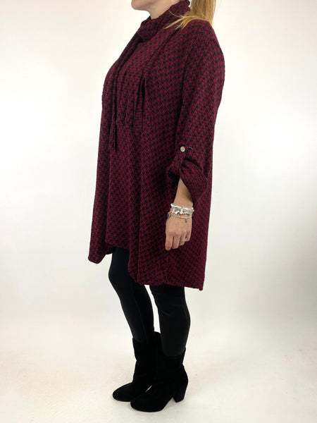 Lagenlook Zig -Zag  Scarf Top in Wine. code 6188