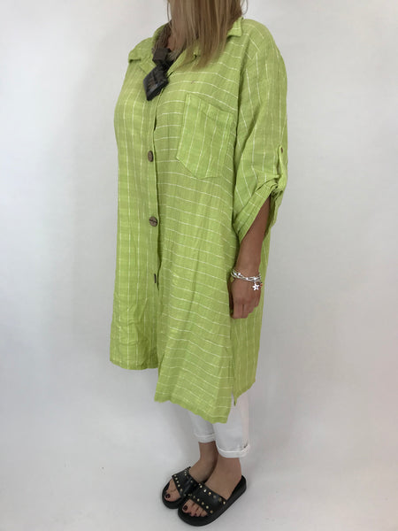 Lagenlook Dele Cotton Shirt in Lime .Code 90873