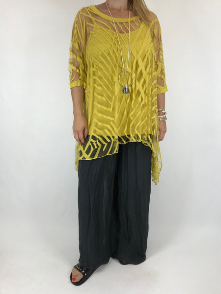 Lagenlook Lazer Cut Net Layering Top in Yellow . code 18042