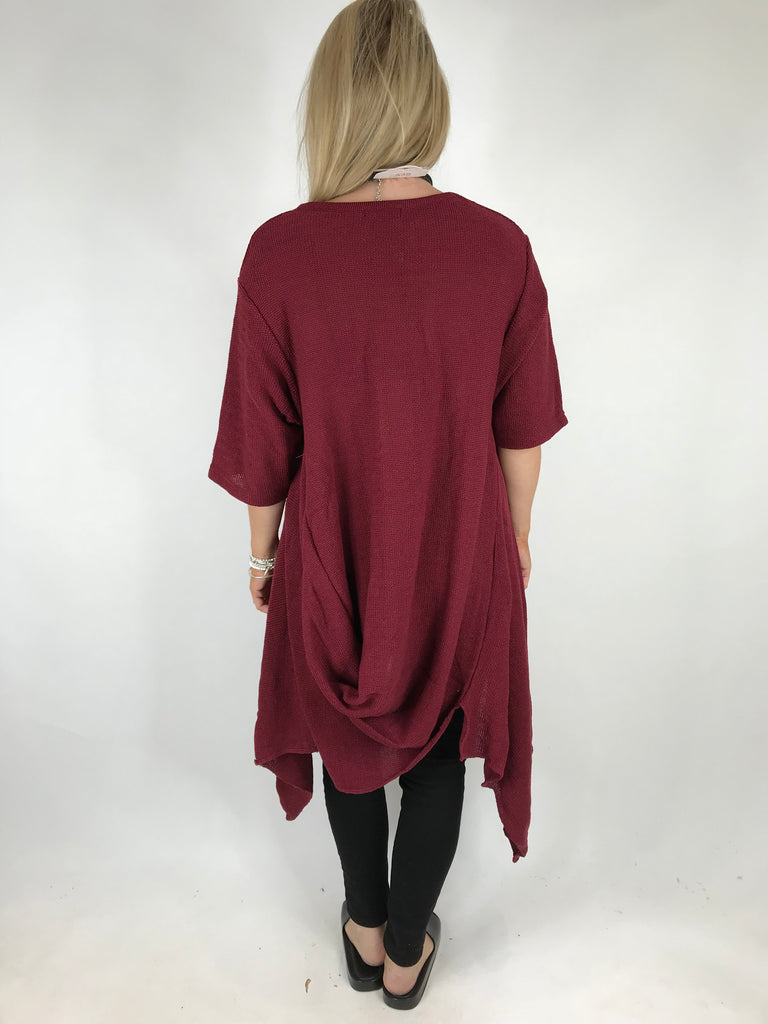 Lagenlook Callie Quirky Fold Hem Cotton Jumper in Wine. code 151