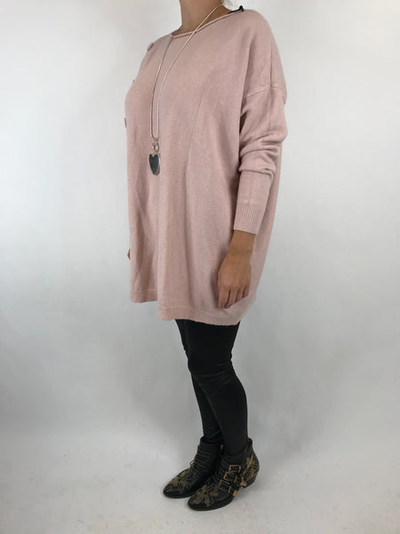 Lagenlook Tess Button side jumper in Pale Pink. code 5461