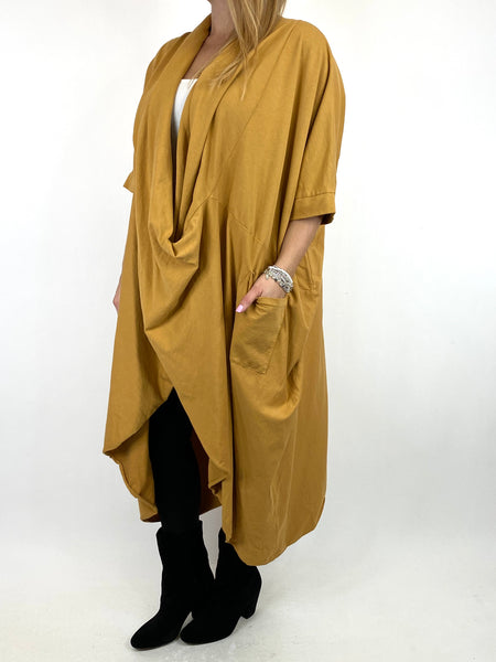 Lagenlook Mena Wrap Dress Top in Mustard. code 8307 - Lagenlook Clothing UK
