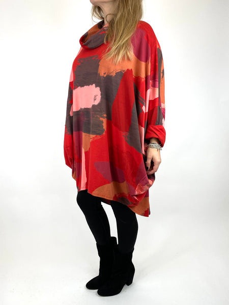 Lagenlook Cowl Neck Paint Splash Print Top in Red. code 9810 - Lagenlook Clothing UK