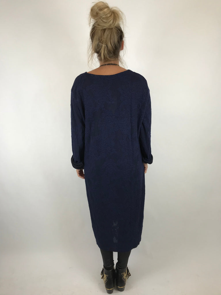 Lagenlook Made In Italy Nia Damask Tunic in Navy. code 5465