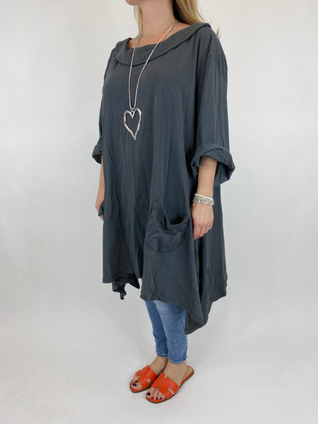 Lagenlook Felicity Sweatshirt Collared Top in Charcoal Curve 30+. code 7449 - Lagenlook Clothing UK