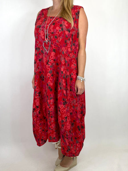 Lagenlook Millie Linen Flower Dot Square neck tunic in Red. code 8262D