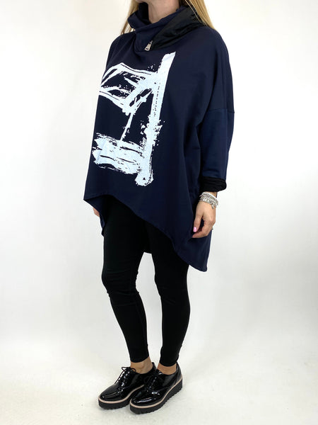 Lagenlook Symbol Zip Hood Top in Navy. code 90645 - Lagenlook Clothing UK