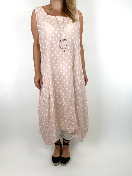 Lagenlook Taylor Linen Polka Dot Square neck tunic in Pale pink. code 8262PD - Lagenlook Clothing UK