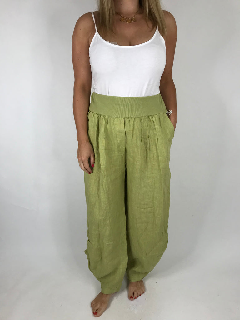 Lagenlook Hetty Button Linen Trousers in Lime . code 5028