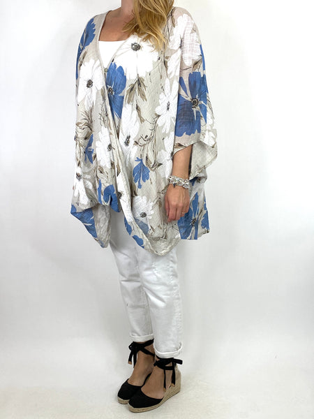 Lagenlook Hana Flower Cotton Mix Wrap Top in Cream. code 9100FP