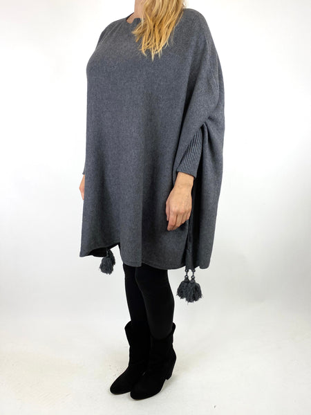 Lagenlook Ella Tassel Jumper in Charcoal. code 2700 - Lagenlook Clothing UK