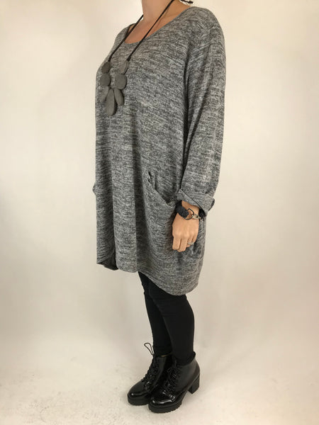 Lagenlook Made In Italy Alps Top in Pale Grey. code 7476 - Lagenlook Clothing UK