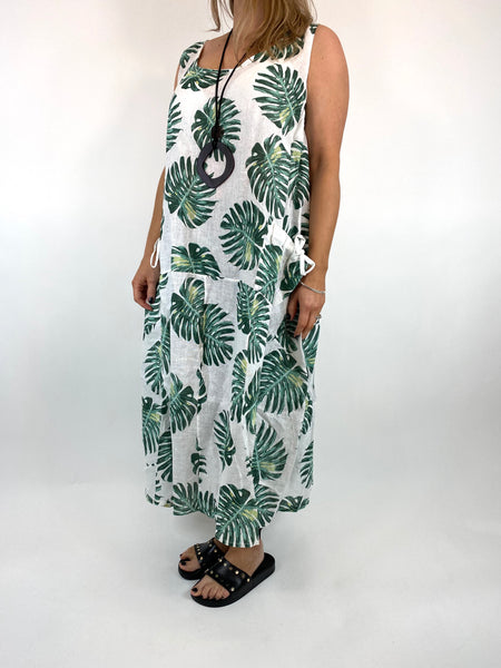 Lagenlook Beverly Palm Leaf Print linen Tunic in White. code 6978