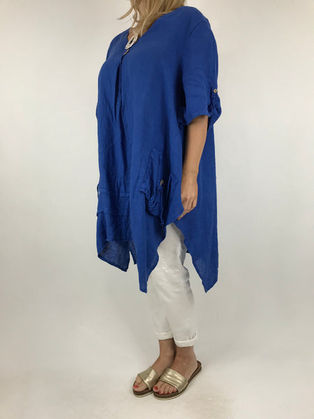 Lagenlook 3 button Linen Top in Royal Blue. code 5788