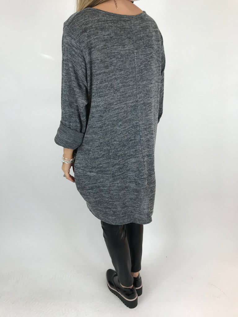 Lagenlook Star  Brushed Fleck Tunic In charcoal. code 74766