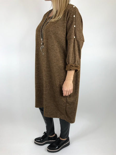 Lagenlook Stud pearl sleeve Tunic in Dark Mustard. Code 4841