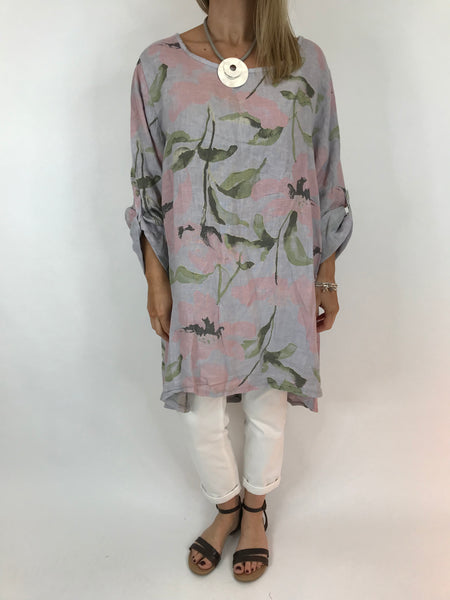 Lagenlook Flower Button back tunic in Grey. Code 5641