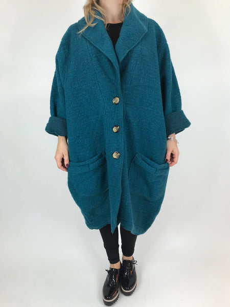 Lagenlook Boho Wool Coat in Teal.code 9109