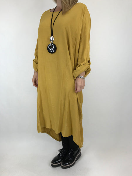 Lagenlook Beckan Knot Back Tunic in Mustard .code 6037