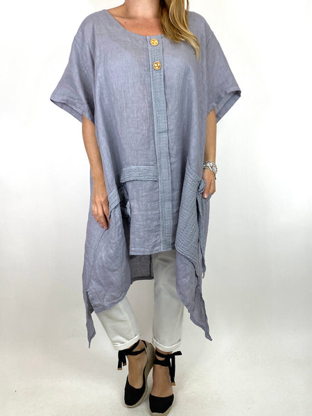 Lagenlook Tara 2 Button Linen Waffle Top in Light Grey .code 91085