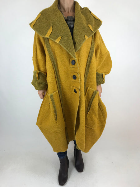 Lagenlook Rea Boho Wool Blend Coat in In Mustard. code 1711