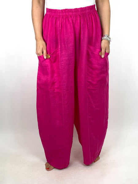 Lagenlook Eliza Wide leg Linen Trousers in Fuchsia. code 6503
