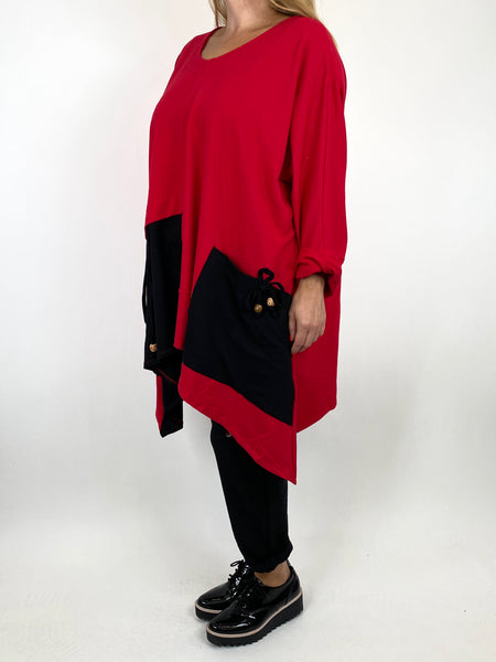 Lagenlook Sammy Jersey Bead Top in Red. code 910881 - Lagenlook Clothing UK