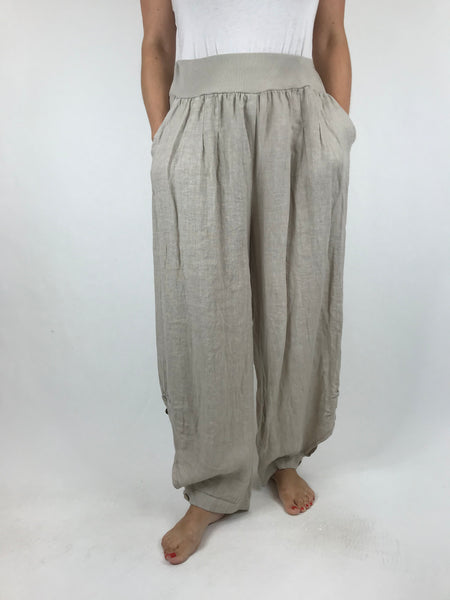 Lagenlook Hetty Button Linen Trousers in Cream. code 5028