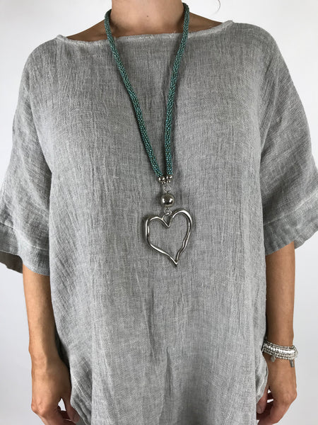 Lagenlook Bead & Heart Necklace In Turquoise . Code AA1301tu