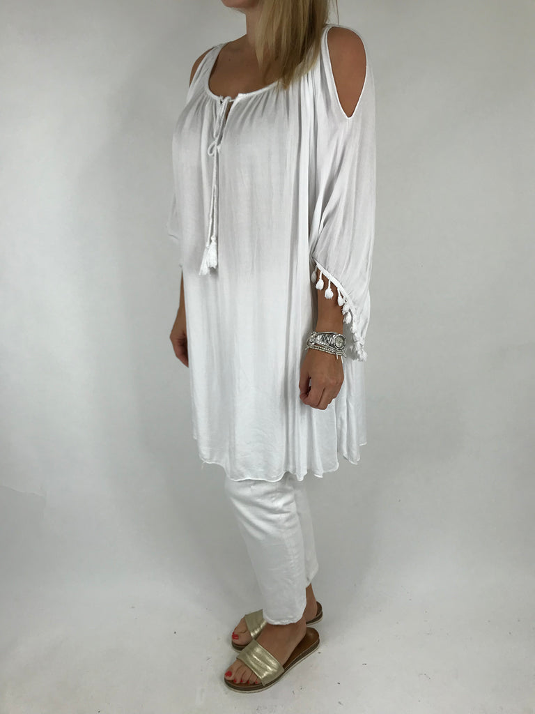 Lagenlook Layla Summer Tassel Top in White. Code 5241