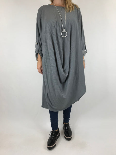 Lagenlook Cotton Fold Front Tunic in Grey. code 5943