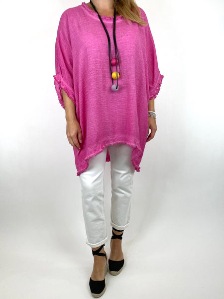 Lagenlook Marie Washed Fray Hem top in Fuchsia. code 10322 - Lagenlook Clothing UK