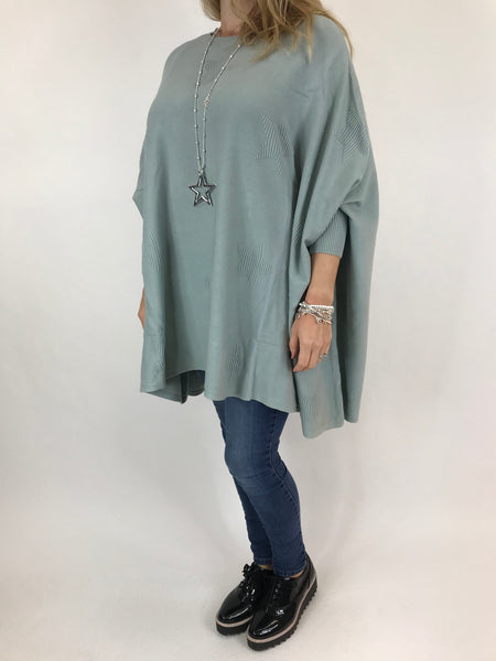 Lagenlook Calia Star Poncho Knit in Duck Egg. code 47352