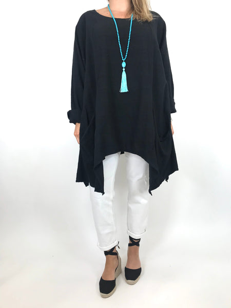 Lagenlook Libby Pocket Side Top in Black. code 6500
